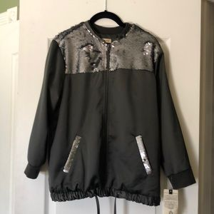 Silver satin bomber jacket with sequins